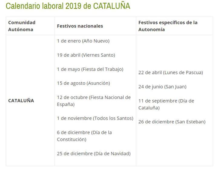 Calendario Laboral De Cataluna.Calendario Laboral Para Cataluna En 2019 O I Bcn Comite